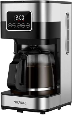 7. SHARDOR Stainless Steel Touch Screen Smart Coffee Maker w/Glass Carafe