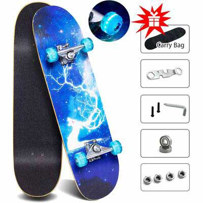 4. Gentle Monster 9 Layer Maple Colorful Flashing Wheels Double Kick Deck for Extreme Sports