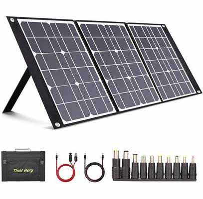 9. TISHI HERY Foldable Portable Solar Panel Charger 50W w/3 Outputs DC/QC 3.0 for Camping & Travel