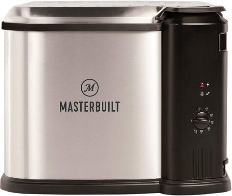 4. Masterbuilt Silver 10 Liter MB20012420 Aluminum Extra-Large Steamer Electric Deep Fryer
