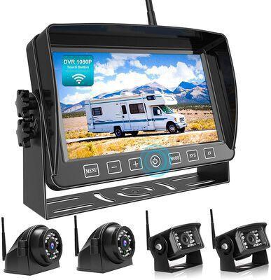 1. FOOKOO DW704 7Inch HD Quad Split 1080P IP69 Waterproof Backup Camera System Kit