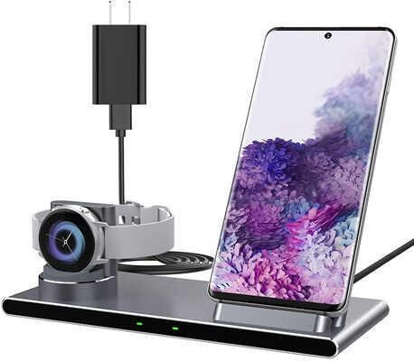 2. Yootech 2-in-1 10W Max Metal Wireless Charging Stand w/Galaxy Watch
