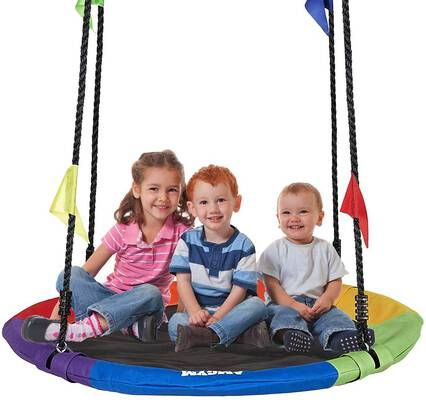 7. AMGYM 40'' Colorful Oxford Outdoor Platform Saucer Tree Swing Set for Adults & Children