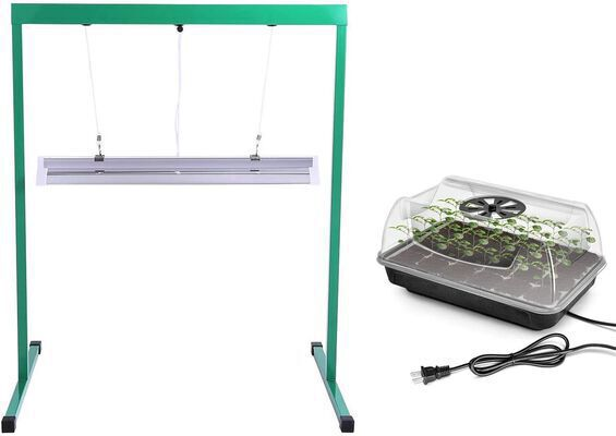 5. iPower 24W T5 Fluorescent Rack Combo 2 Feet Heating Seed Starter Grow Light Stand for Plants