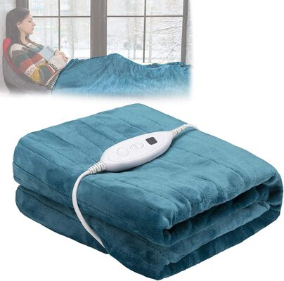 10. DailyLIFE Blue Machine Washable UL Certified Cozy Heated Electric 6 Heating Setting Blanket