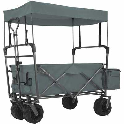 1. EXTEC Grey Easy Setup Canopy Collapsible Outdoor Foldable Stroller Beach Wagon