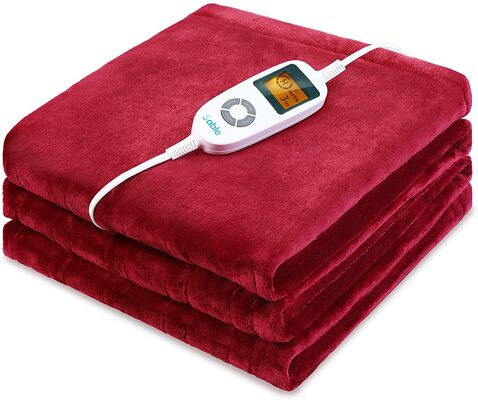 2. Sable Red ETL-Certified Machine Washable 10 Heat Levels Auto-Off Electric Heated Throw Blanket