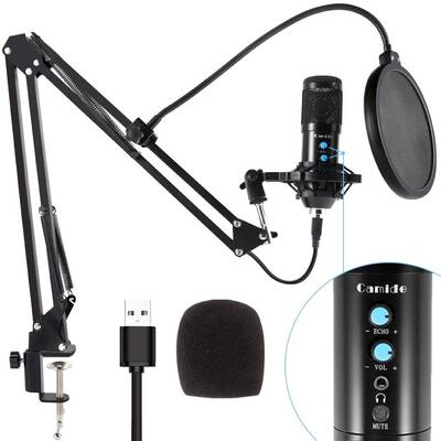 9. Camide 192 KHz/24Bit Mic Sound Chipset Plug & Play USB Computer Microphone Kit