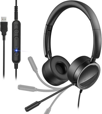 10. New Bee in-Line Noise Cancelling USB Headset w/Mic for Zoom, Skype, Laptop & Phone