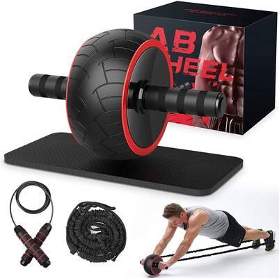 4.GRDE Exercise Equipment Resistance Bands Jump-Ropes Ab Roller Wheel for Women & Men