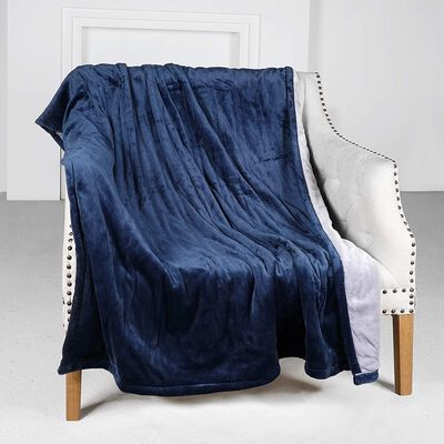 8. YASHONG Navy LCD Display ETL-Certified Machine Washable Flannel Heated Electric Blanket