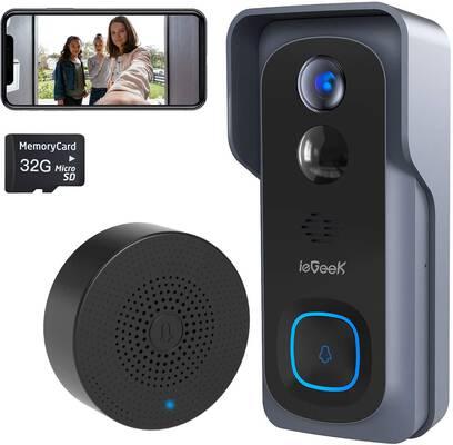 8. ieGeek IP66 Waterproof 2-Way Audio 32GB Preinstalled Wireless Wi-Fi Video Doorbell Camera