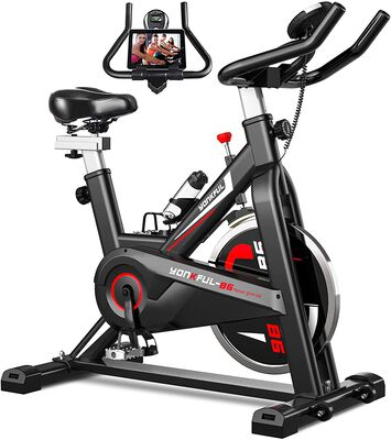 6. YONKFUL Exercise Bike with Tablet Holder & Comfy Seat Cushion