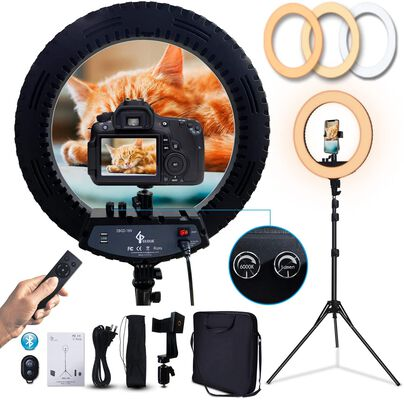 8. GLOUE 18 Inch Pro Ring Light with a Tripod Stand