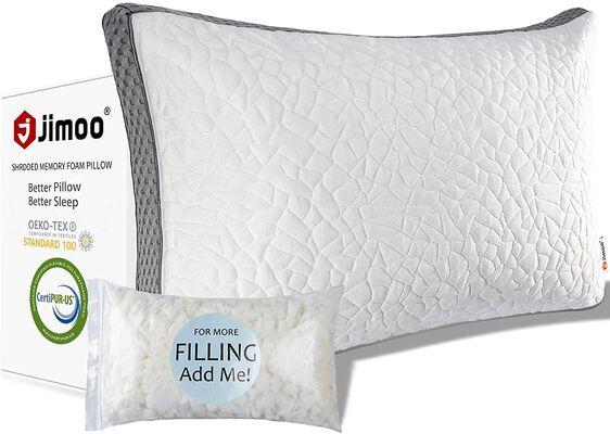 5. J JIMOO Shredded Memory Foam Pillow, Queen