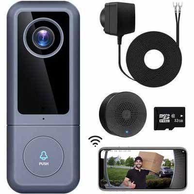 5. XTU Easy Installation 32GB SD Card 2K Ultra-HD 2-Way Audio Wi-Fi Video Doorbell Camera