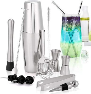 9. HALOViE 15Pcs Stainless Steel 750ml Bartender Kit Cocktail Shaker Set for Mojito Martini
