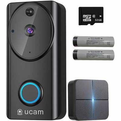 7. OUCAM 32GB SD Card 1080P Night Vision IP65 Waterproof 2-Way Audio Video Doorbell Camera