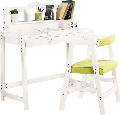 1. MallBest Solid Wood Study Height Adjustable Kids Table and Chairs Set with Drawers