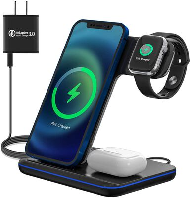 3. Moing 3-in-1 Upgraded Wireless Charging Stand for Apple Watch, Airpods Pro/2