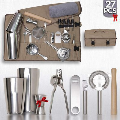 6. PEPE NERO 27Pcs Mixology Bartender Cocktail Shaker Set w/Canvas Bag Portable Barware Kit