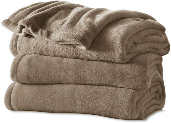 4. Sunbeam Auto Shut-off Microplush Foot Pocket Comfy Electric Heated Blanket w/3 Heat Settings