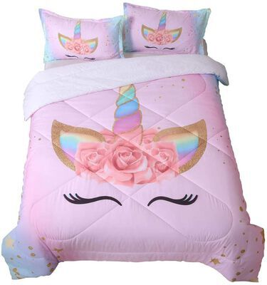 6. SIRDO Magical Unicorn Soft Girls' Comforter Set- Machine Washable