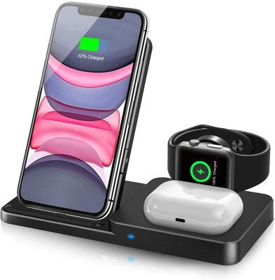 7. QI-EU Adjustable Qi-Certified Fast Wireless Charging Stand for Apple Watch & AirPods