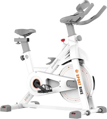 8. pooboo Exercise Bike with a Comfortable Seat Cushion