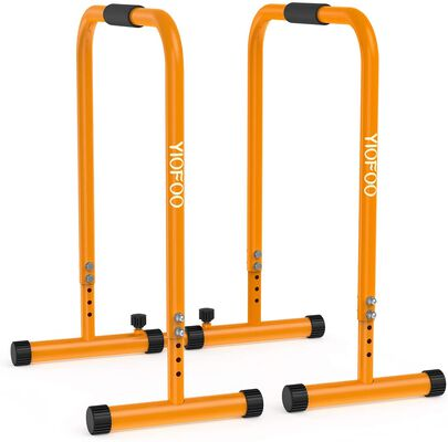 3. Yiofoo Multifunctional Adjustable Dip Bar Training Station with Safety Connector for Home