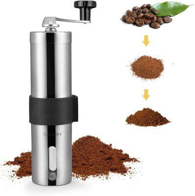 9. Mongdio Stainless Steel Adjustable Settings Manual Coffee Grinder for Offices
