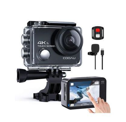 4. Cooau EIS Stabilization 20MP Touch Screen WIFI Action Camera with Helmet Mounting Kit