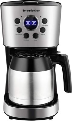 6. Bonsenkitchen 50 Oz Anti-Drip Function Stainless Steel 10-Cup Coffee Maker