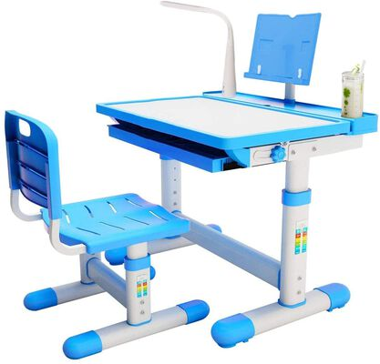 8. Brightshow Blue Adjustable Height Study Kids Table and Chairs Set with Pencil Case