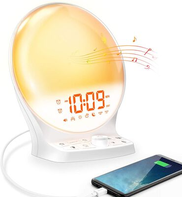 7. Mesqool Night Light Round Sunrise Alarm Clock with Battery Backup