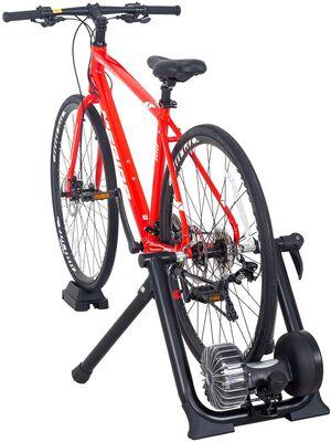 6. Puluomis Foldable Bike Trainer Stand with Fluid Flywheel for Noise Reduction