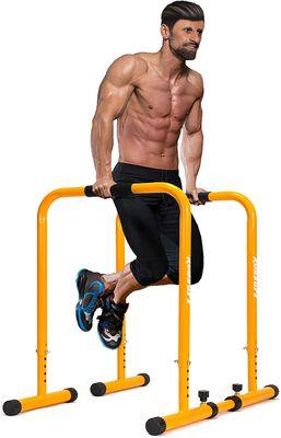 7. Komsurf Upgraded Adjustable Dip Bar Training Station with Strength Training Parallel Bars