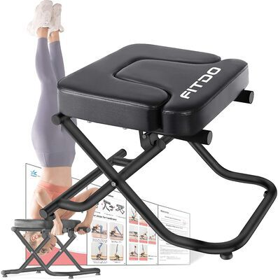 10. Fitdo Black Non Slip Adjustable Foldable Yoga Headstand Bench with T Pad Cushion