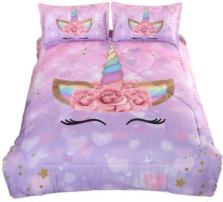 4. ADASMILE Ultra-Soft Girls Comforter Set with Sparkle Stars