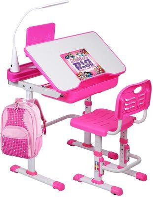 6. Smagreho Study Writing Kids Table and Chairs Set with LED lights and Tilt Desktop