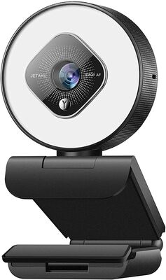5. Jetaku Webcam for Streaming with Dual Microphone and Adjustable Brightness for Zoom