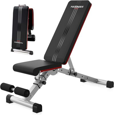 8. Hasiman Black Incline Adjustable Weight Bench with a Foldable Design for Home Gym
