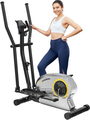 10. Pooboo Magnetic Elliptical Cross Trainer Machine with LCD Monitor for Home Use